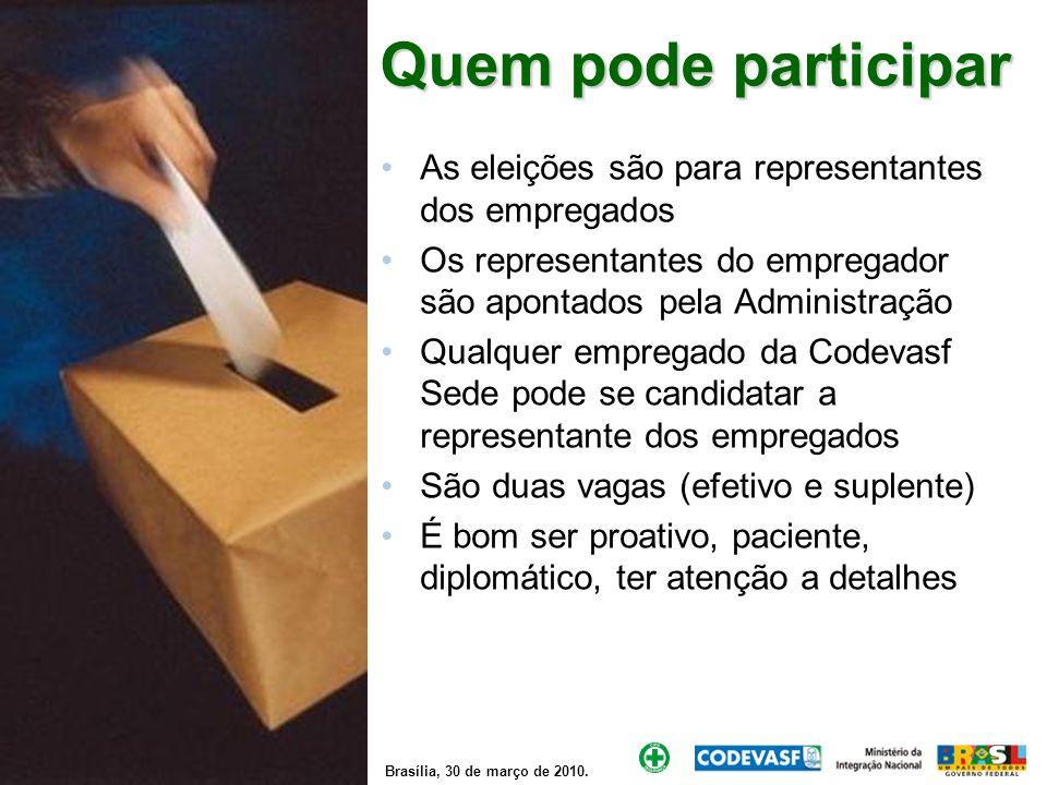 Brasília, 30 de março de 2010. Quem pode participar As eleições são para representantes dos empregados Os representantes do empregador são apontados p