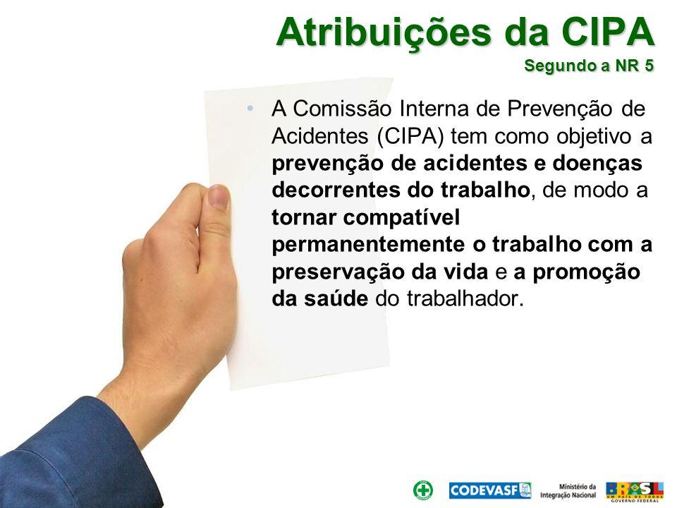 Brasília, 30 de março de 2010. Atribuições da CIPA Segundo a NR 5 A Comissão Interna de Prevenção de Acidentes (CIPA) tem como objetivo a prevenção de