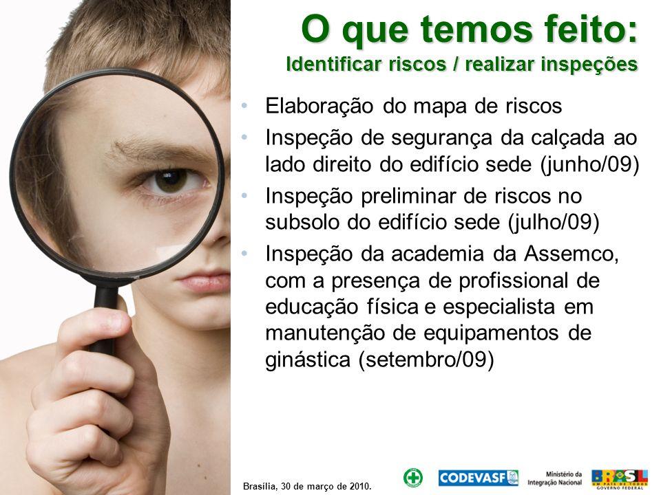 Brasília, 30 de março de 2010. O que temos feito: Identificar riscos / realizar inspeções Elaboração do mapa de riscos Inspeção de segurança da calçad