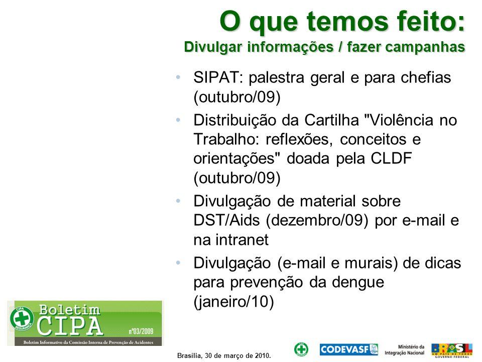 Brasília, 30 de março de 2010. O que temos feito: Divulgar informações / fazer campanhas SIPAT: palestra geral e para chefias (outubro/09) Distribuiçã