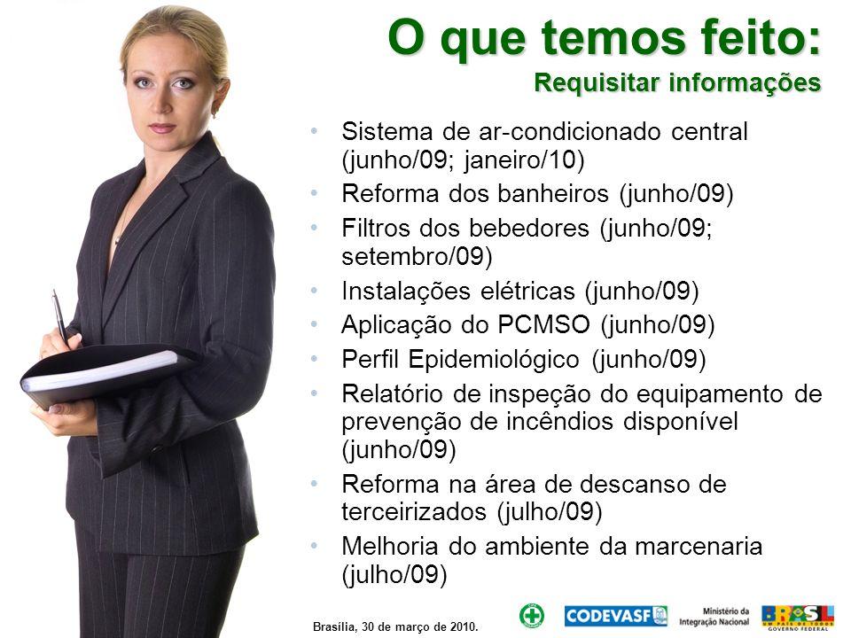Brasília, 30 de março de 2010. O que temos feito: Requisitar informações Sistema de ar-condicionado central (junho/09; janeiro/10) Reforma dos banheir