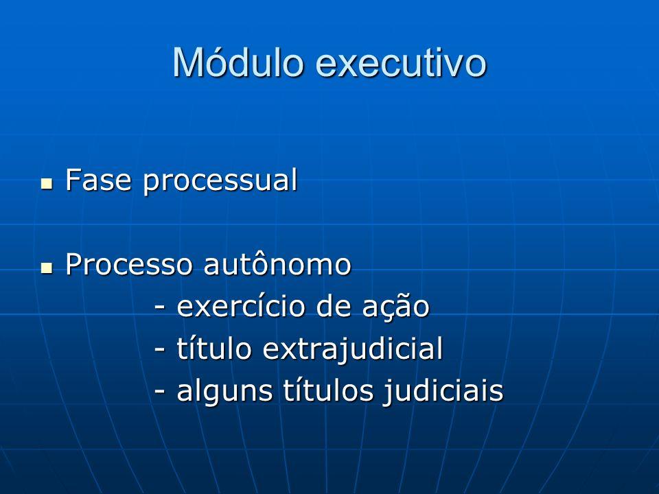 Módulo executivo Fase processual Fase processual Processo autônomo Processo autônomo - exercício de ação - exercício de ação - título extrajudicial -