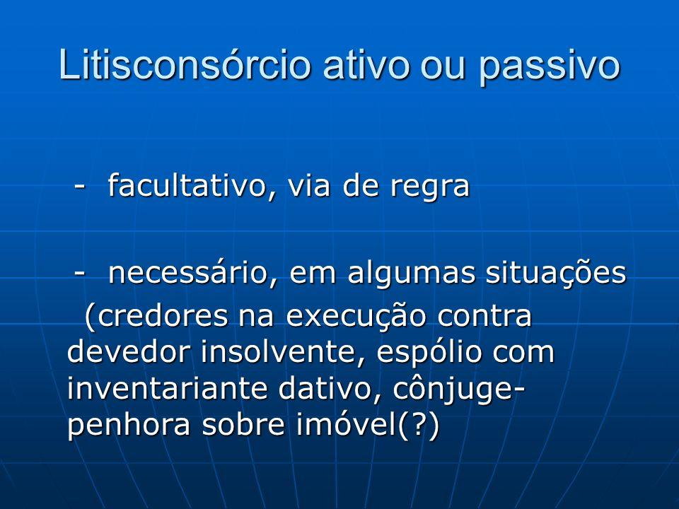 Litisconsórcio ativo ou passivo - facultativo, via de regra - facultativo, via de regra - necessário, em algumas situações - necessário, em algumas si