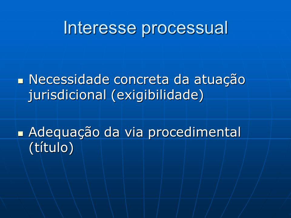Interesse processual Necessidade concreta da atuação jurisdicional (exigibilidade) Necessidade concreta da atuação jurisdicional (exigibilidade) Adequ