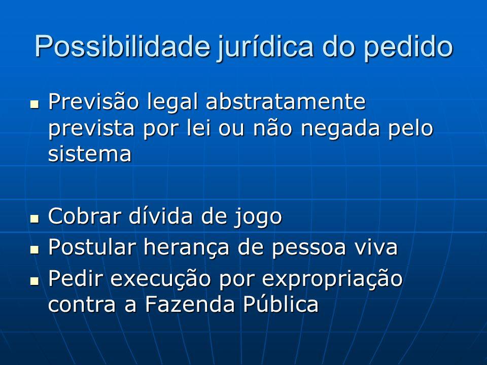 Possibilidade jurídica do pedido Previsão legal abstratamente prevista por lei ou não negada pelo sistema Previsão legal abstratamente prevista por le