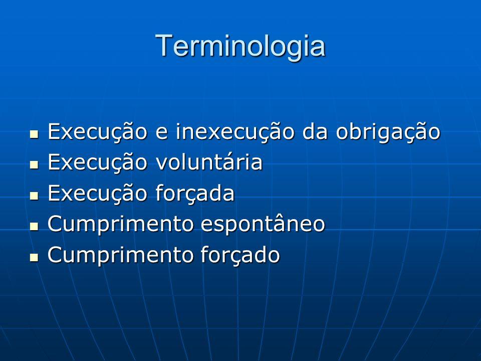 Terminologia Execução e inexecução da obrigação Execução e inexecução da obrigação Execução voluntária Execução voluntária Execução forçada Execução f