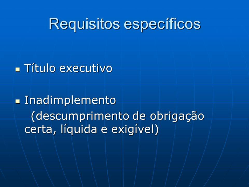 Requisitos específicos Título executivo Título executivo Inadimplemento Inadimplemento (descumprimento de obrigação certa, líquida e exigível) (descum