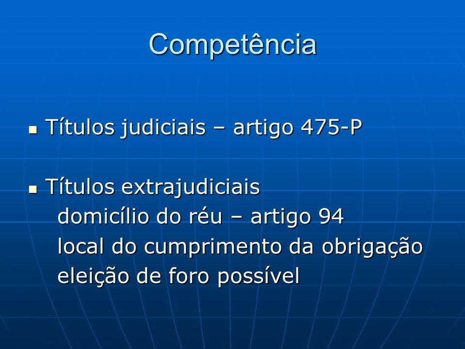 Competência Títulos judiciais – artigo 475-P Títulos judiciais – artigo 475-P Títulos extrajudiciais Títulos extrajudiciais domicílio do réu – artigo