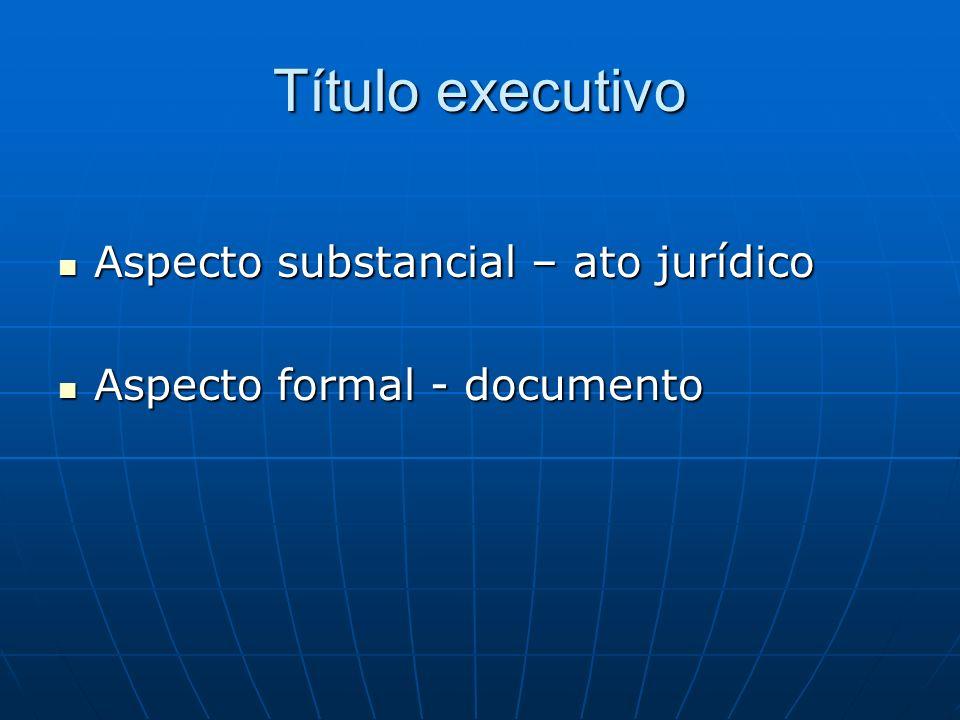 Título executivo Aspecto substancial – ato jurídico Aspecto substancial – ato jurídico Aspecto formal - documento Aspecto formal - documento