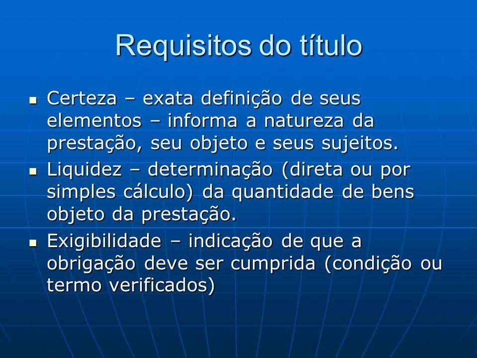 Requisitos do título Certeza – exata definição de seus elementos – informa a natureza da prestação, seu objeto e seus sujeitos. Certeza – exata defini