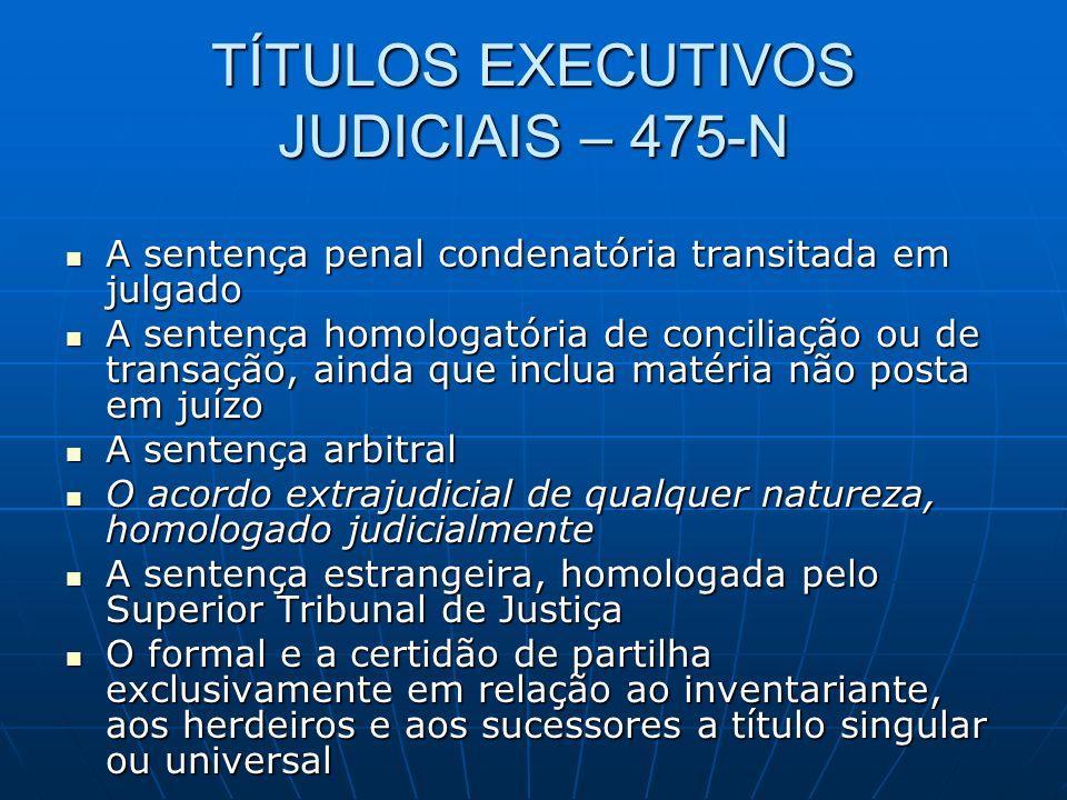 TÍTULOS EXECUTIVOS JUDICIAIS – 475-N A sentença penal condenatória transitada em julgado A sentença penal condenatória transitada em julgado A sentenç