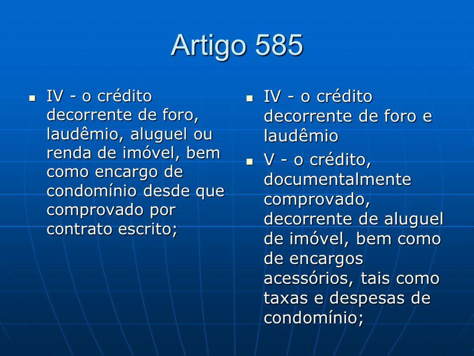 Artigo 585 IV - o crédito decorrente de foro, laudêmio, aluguel ou renda de imóvel, bem como encargo de condomínio desde que comprovado por contrato e