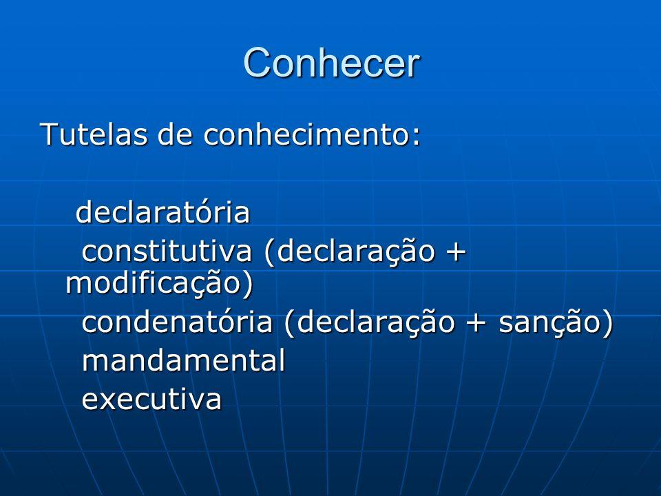 Conhecer Tutelas de conhecimento: declaratória declaratória constitutiva (declaração + modificação) constitutiva (declaração + modificação) condenatór