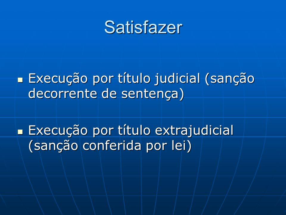 Satisfazer Execução por título judicial (sanção decorrente de sentença) Execução por título judicial (sanção decorrente de sentença) Execução por títu