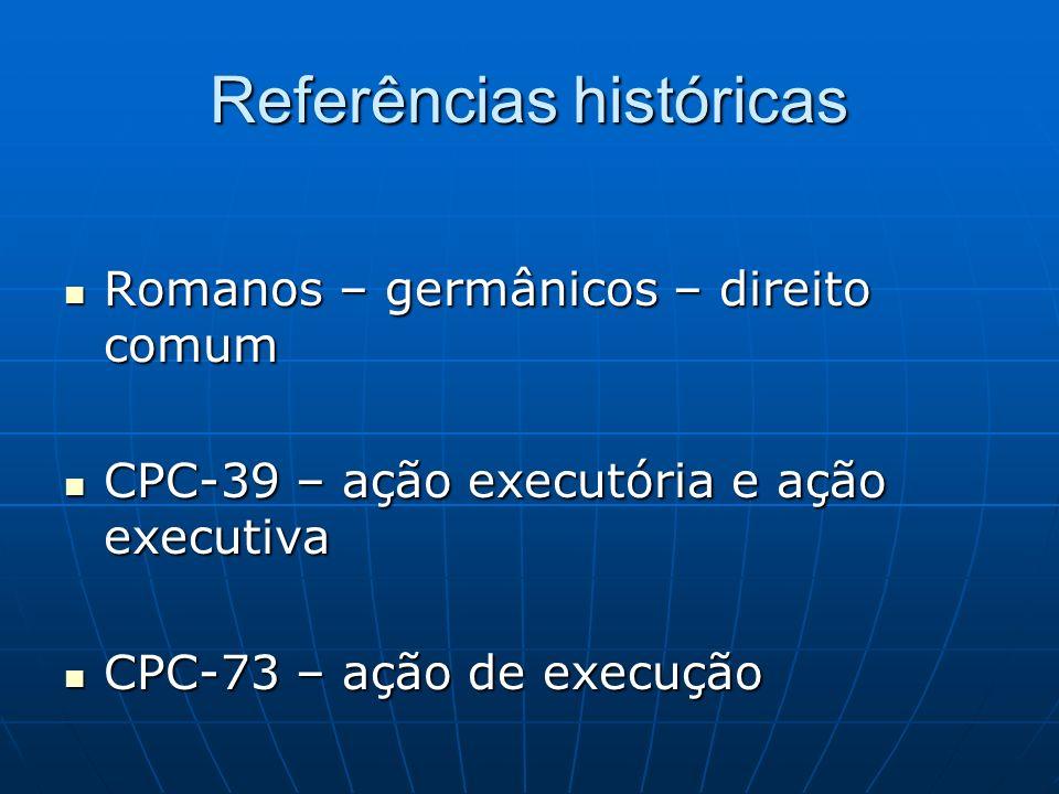 Referências históricas Romanos – germânicos – direito comum Romanos – germânicos – direito comum CPC-39 – ação executória e ação executiva CPC-39 – aç