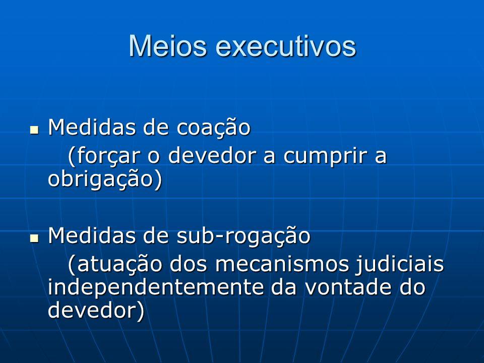 Distinções Execução específica Execução específica (prestação realizada pelo próprio órgão jurisdicional) (prestação realizada pelo próprio órgão jurisdicional) Execução subsidiária Execução subsidiária (prestação diversa, como forma de compensação) (prestação diversa, como forma de compensação) Execução imprópria Execução imprópria (atividade de outros órgãos públicos) (atividade de outros órgãos públicos)