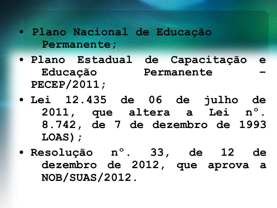 Plano Nacional de Educação Permanente; Plano Estadual de Capacitação e Educação Permanente – PECEP/2011; Lei 12.435 de 06 de julho de 2011, que altera