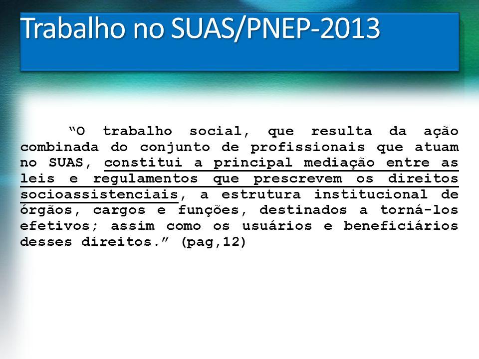Trabalho no SUAS/PNEP-2013 O trabalho social, que resulta da ação combinada do conjunto de profissionais que atuam no SUAS, constitui a principal medi