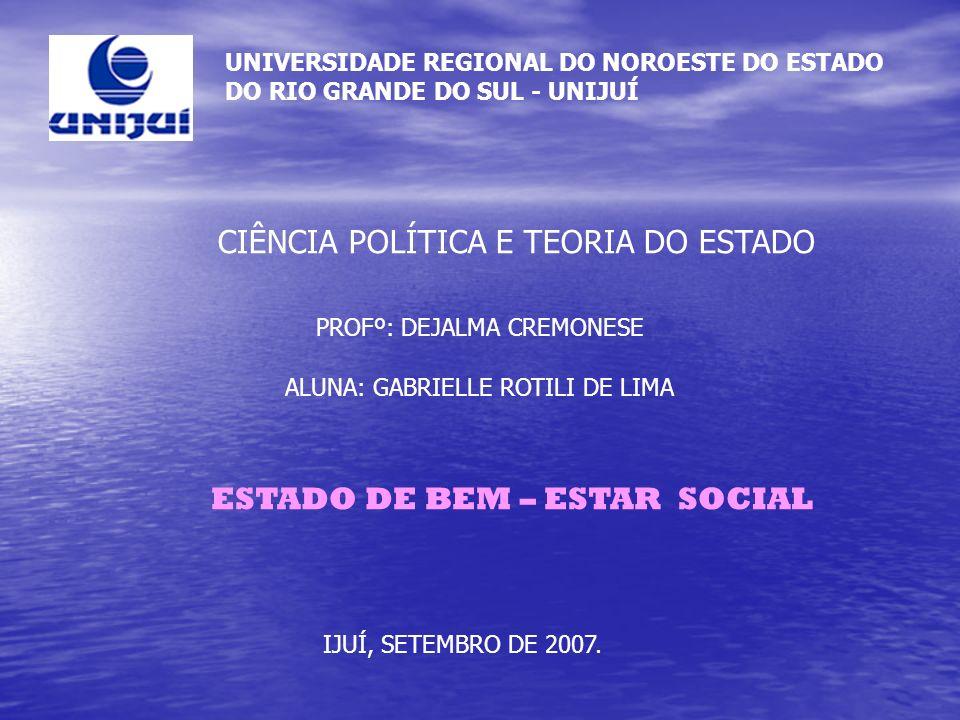 UNIVERSIDADE REGIONAL DO NOROESTE DO ESTADO DO RIO GRANDE DO SUL - UNIJUÍ CIÊNCIA POLÍTICA E TEORIA DO ESTADO PROFº: DEJALMA CREMONESE ALUNA: GABRIELL
