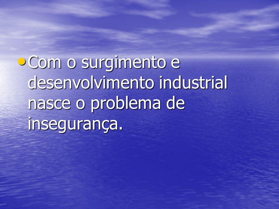 Com o surgimento e desenvolvimento industrial nasce o problema de insegurança. Com o surgimento e desenvolvimento industrial nasce o problema de inseg