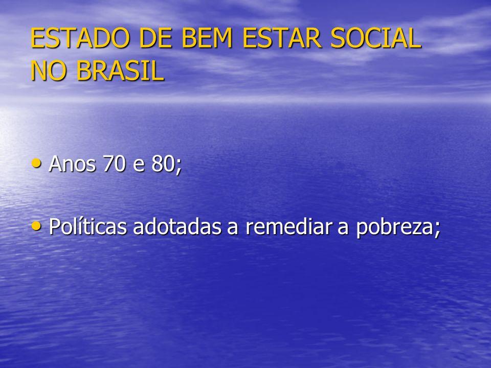 ESTADO DE BEM ESTAR SOCIAL NO BRASIL Anos 70 e 80; Anos 70 e 80; Políticas adotadas a remediar a pobreza; Políticas adotadas a remediar a pobreza;