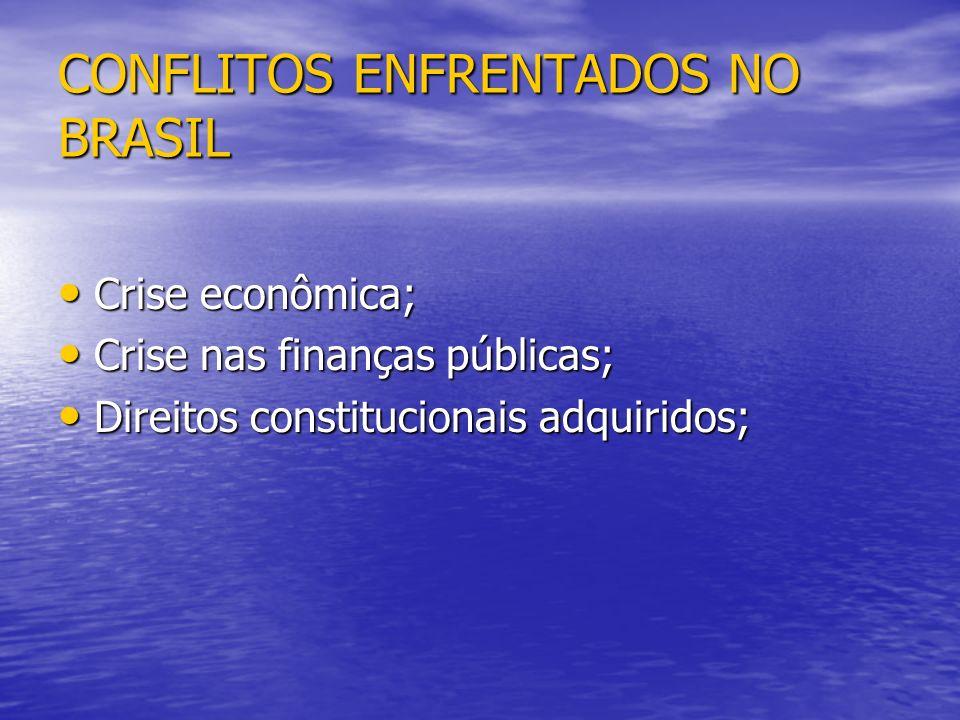 CONFLITOS ENFRENTADOS NO BRASIL Crise econômica; Crise econômica; Crise nas finanças públicas; Crise nas finanças públicas; Direitos constitucionais a