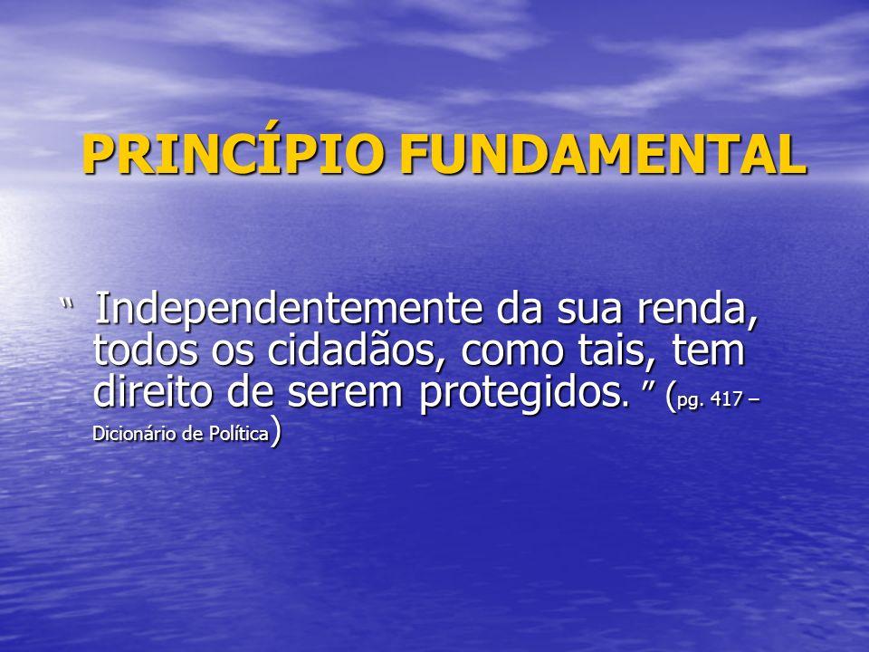 PRINCÍPIO FUNDAMENTAL PRINCÍPIO FUNDAMENTAL Independentemente da sua renda, todos os cidadãos, como tais, tem direito de serem protegidos. ( pg. 417 –