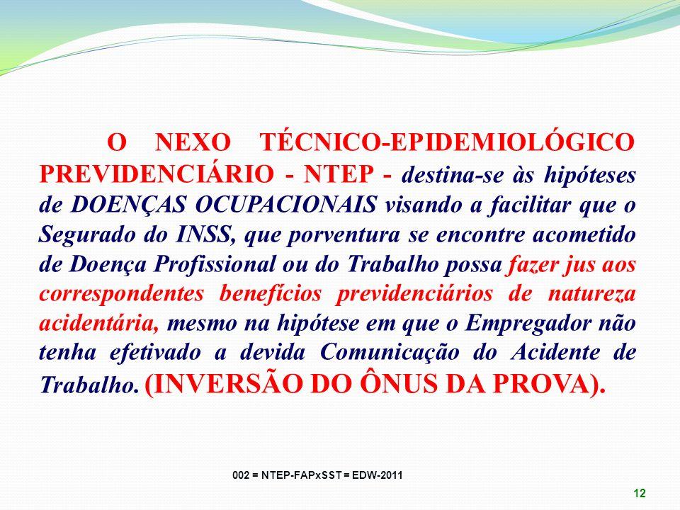 NEXO TÉCNICO-EPIDEMIOLÓGICO PREVIDENCIÁRIO - NTEP. Modalidade de NEXO CAUSAL PRESUMIDO, embasado em estudos epidemiológicos que correlacionam a ATIVID