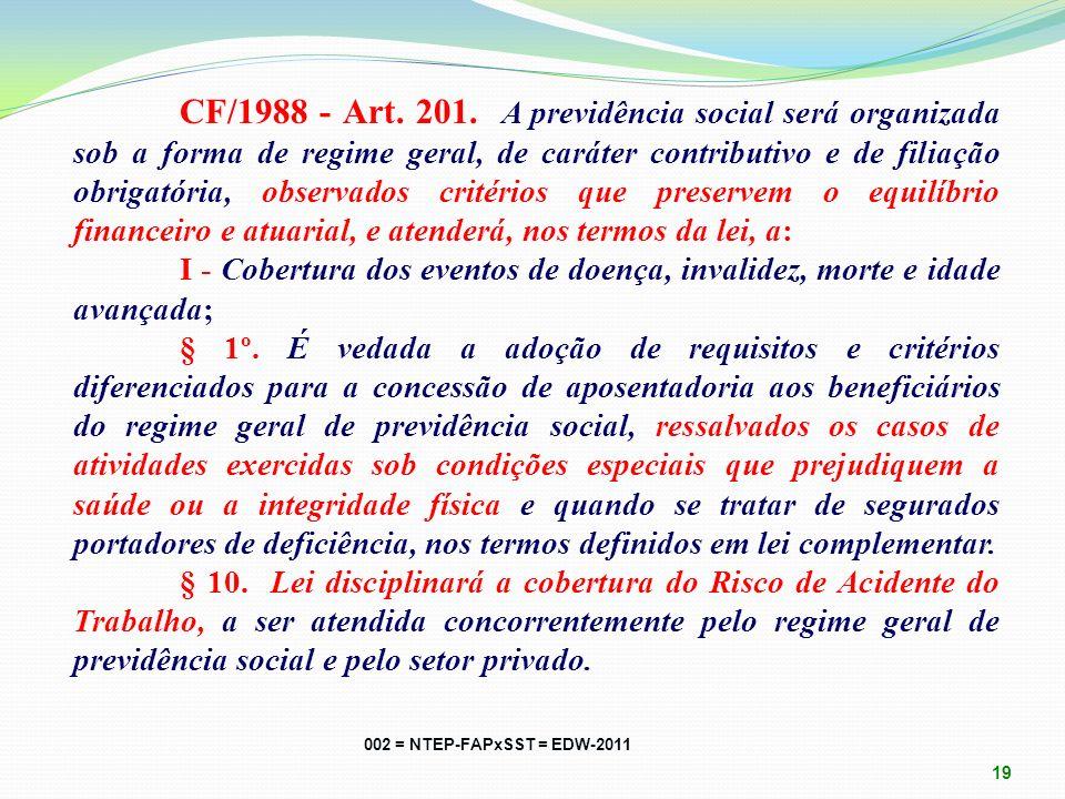 CF/1988 - Art. 195. A seguridade social será financiada por toda a sociedade, de forma direta e indireta, nos termos da lei, mediante recursos proveni