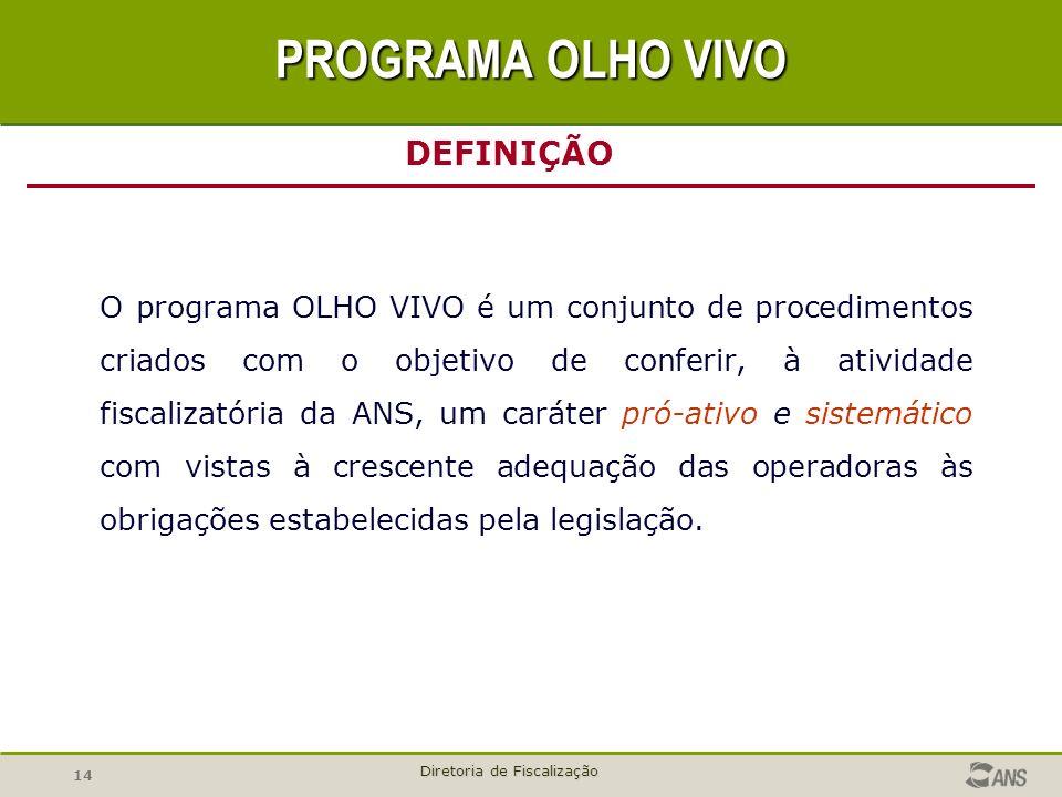14 Diretoria de Fiscalização O programa OLHO VIVO é um conjunto de procedimentos criados com o objetivo de conferir, à atividade fiscalizatória da ANS