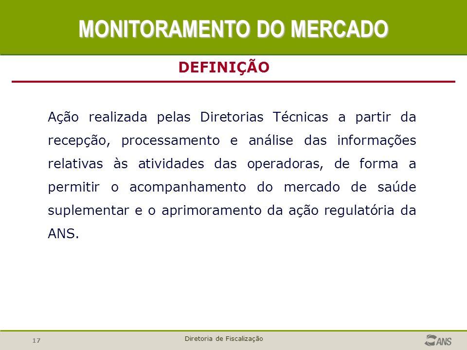 17 Diretoria de Fiscalização Ação realizada pelas Diretorias Técnicas a partir da recepção, processamento e análise das informações relativas às ativi