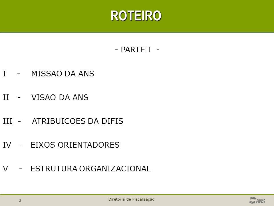 2 Diretoria de Fiscalização ROTEIRO - PARTE I - I - MISSAO DA ANS II - VISAO DA ANS III - ATRIBUICOES DA DIFIS IV - EIXOS ORIENTADORES V - ESTRUTURA O