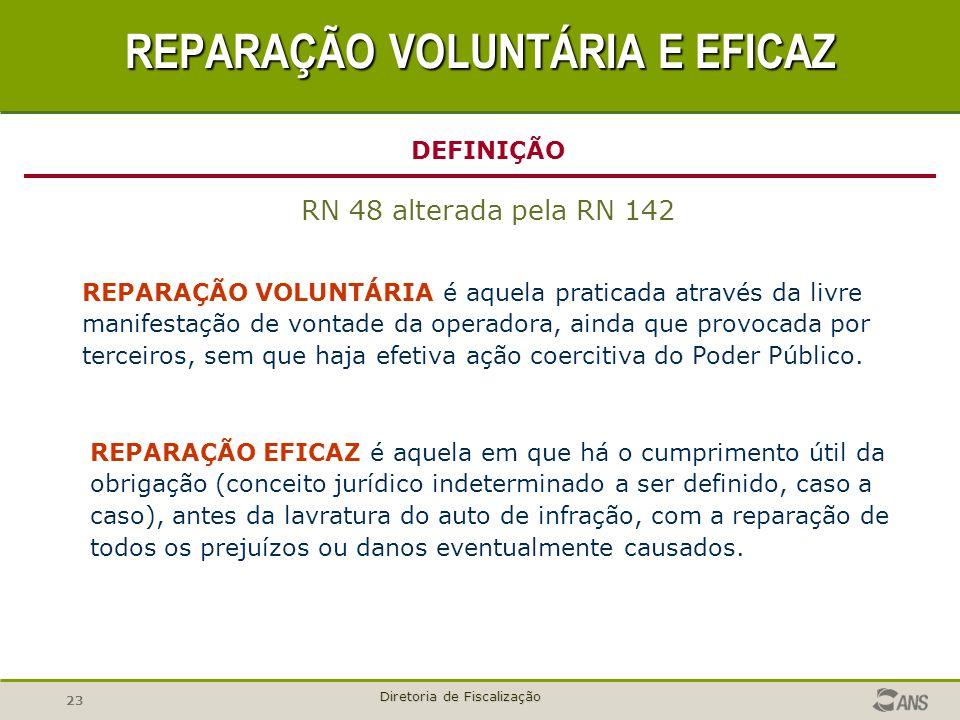 23 Diretoria de Fiscalização REPARAÇÃO EFICAZ é aquela em que há o cumprimento útil da obrigação (conceito jurídico indeterminado a ser definido, caso