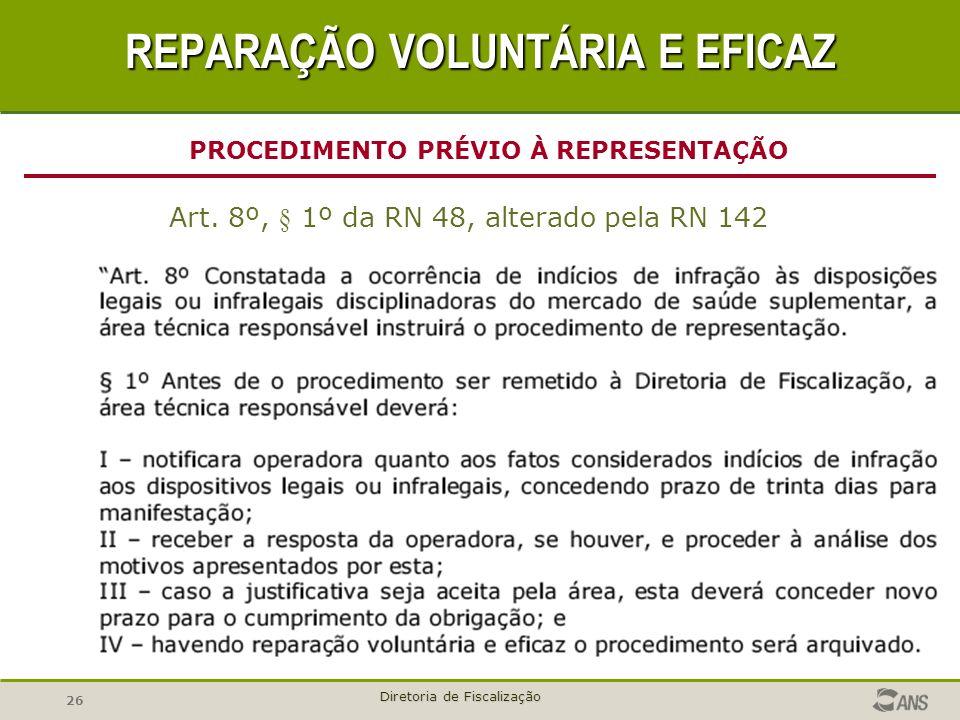 26 Diretoria de Fiscalização Art. 8º, § 1º da RN 48, alterado pela RN 142 PROCEDIMENTO PRÉVIO À REPRESENTAÇÃO REPARAÇÃO VOLUNTÁRIA E EFICAZ