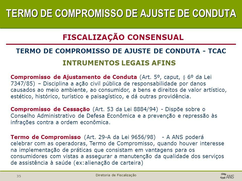 35 Diretoria de Fiscalização INTRUMENTOS LEGAIS AFINS FISCALIZAÇÃO CONSENSUAL TERMO DE COMPROMISSO DE AJUSTE DE CONDUTA - TCAC Compromisso de Ajustame