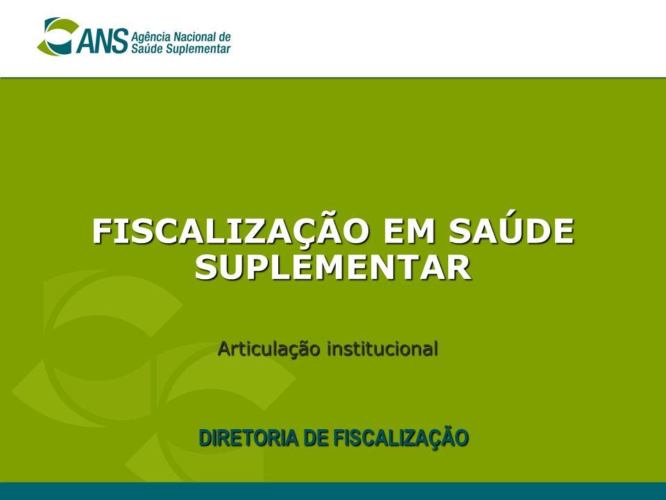 FISCALIZAÇÃO EM SAÚDE SUPLEMENTAR DIRETORIA DE FISCALIZAÇÃO Articulação institucional