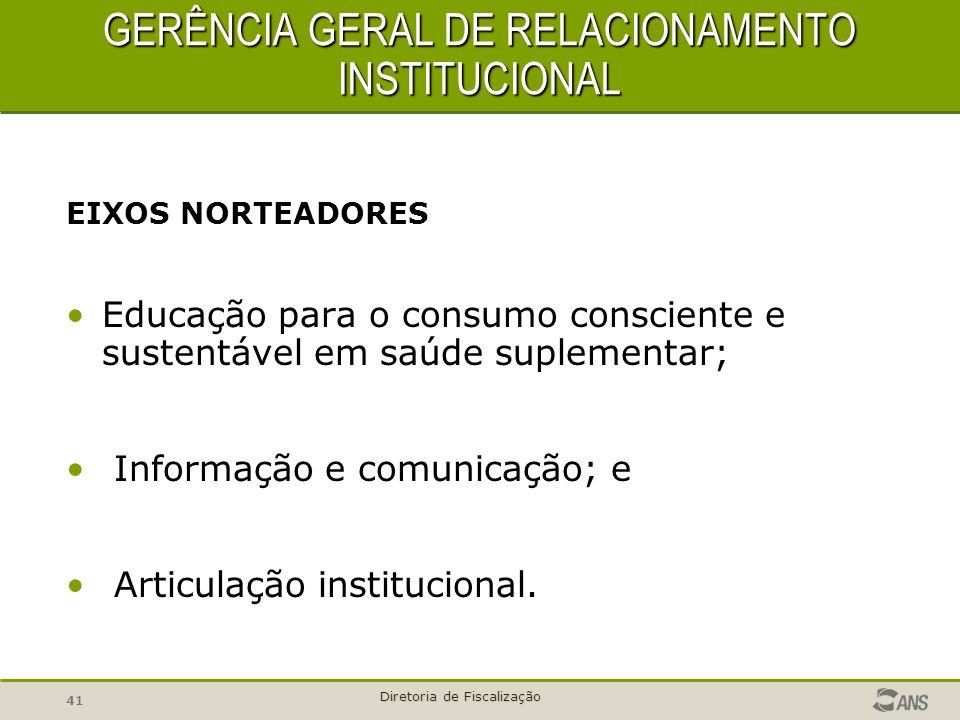 41 Diretoria de Fiscalização GERÊNCIA GERAL DE RELACIONAMENTO INSTITUCIONAL GERÊNCIA GERAL DE RELACIONAMENTO INSTITUCIONAL EIXOS NORTEADORES Educação