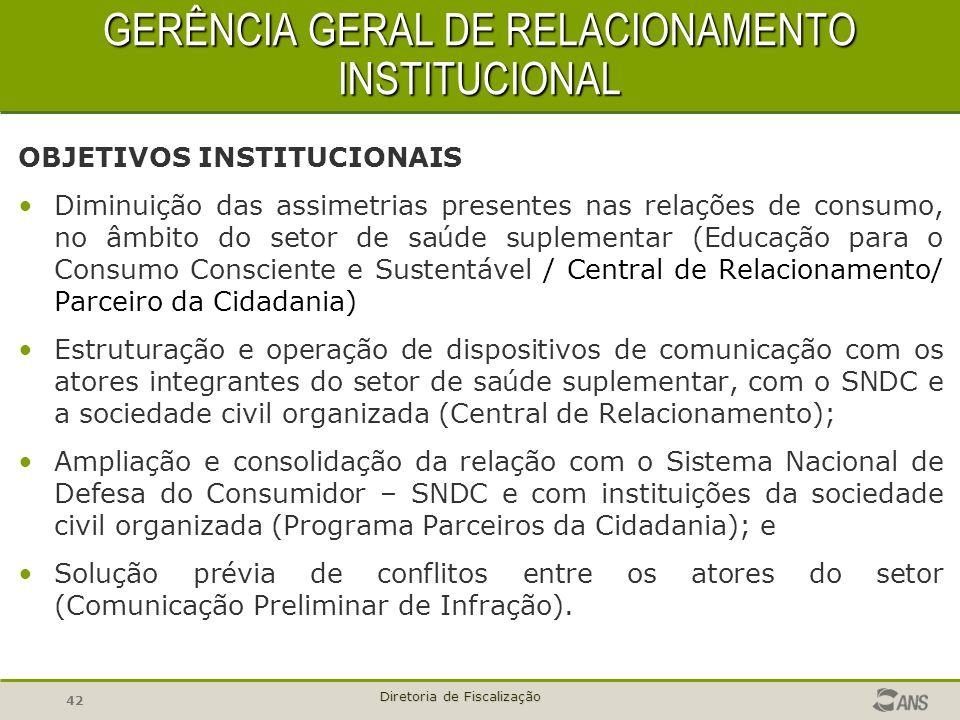 42 Diretoria de Fiscalização GERÊNCIA GERAL DE RELACIONAMENTO INSTITUCIONAL GERÊNCIA GERAL DE RELACIONAMENTO INSTITUCIONAL OBJETIVOS INSTITUCIONAIS Di