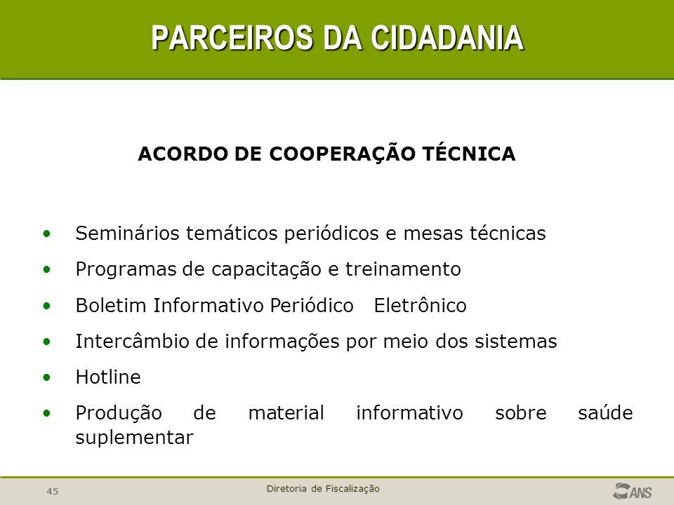 45 Diretoria de Fiscalização ACORDO DE COOPERAÇÃO TÉCNICA PARCEIROS DA CIDADANIA Seminários temáticos periódicos e mesas técnicas Programas de capacit