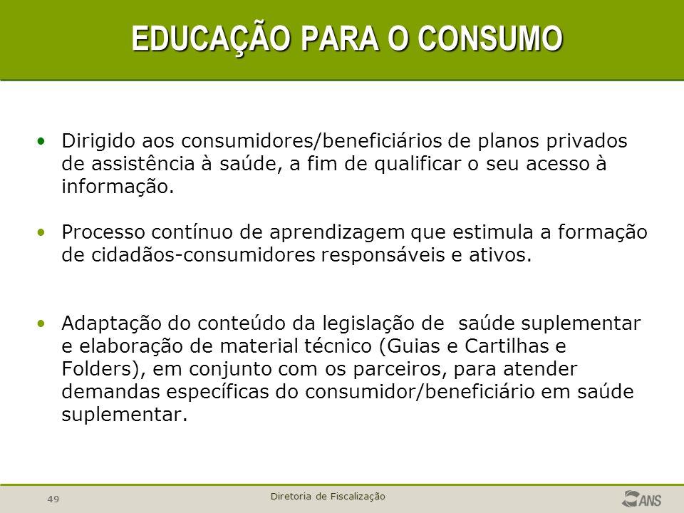 49 Diretoria de Fiscalização EDUCAÇÃO PARA O CONSUMO Dirigido aos consumidores/beneficiários de planos privados de assistência à saúde, a fim de quali