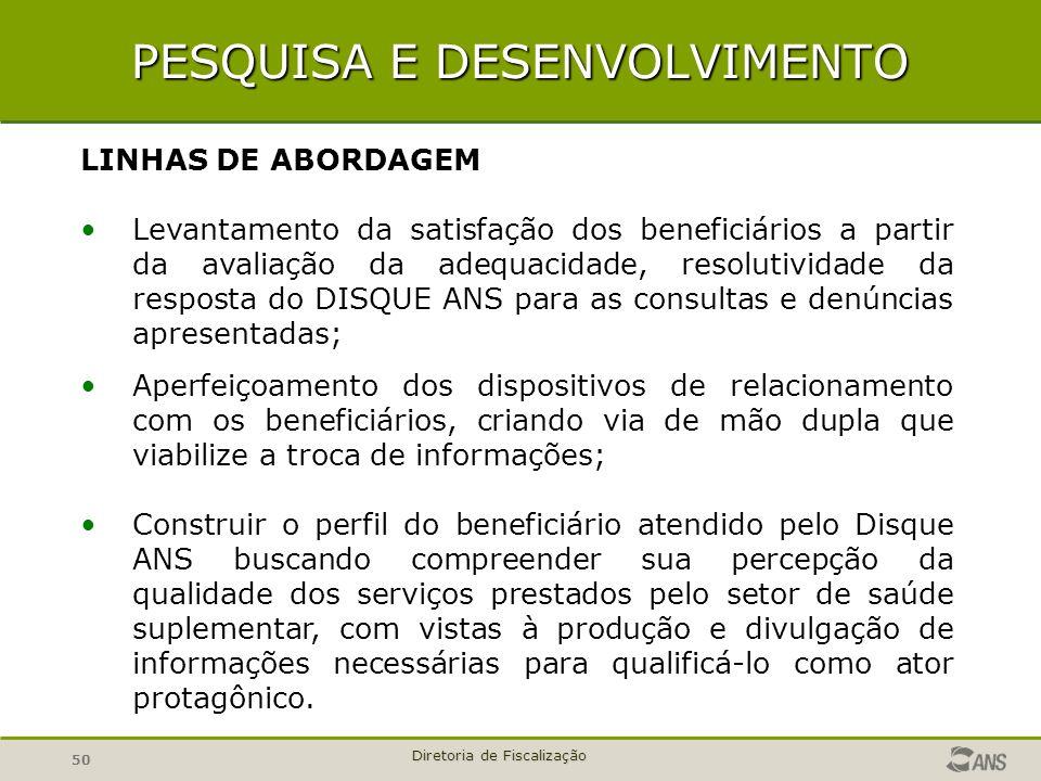 50 Diretoria de Fiscalização PESQUISA E DESENVOLVIMENTO LINHAS DE ABORDAGEM Levantamento da satisfação dos beneficiários a partir da avaliação da adeq