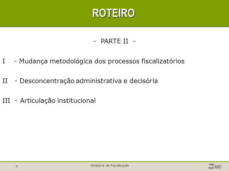 8 Diretoria de Fiscalização ROTEIRO - PARTE II - I - Mudança metodológica dos processos fiscalizatórios II - Desconcentração administrativa e decisóri