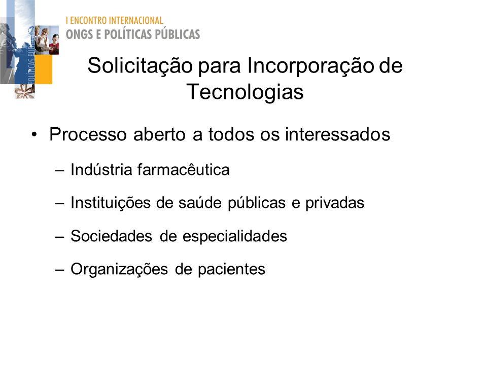 Solicitação para Incorporação de Tecnologias Processo aberto a todos os interessados –Indústria farmacêutica –Instituições de saúde públicas e privada