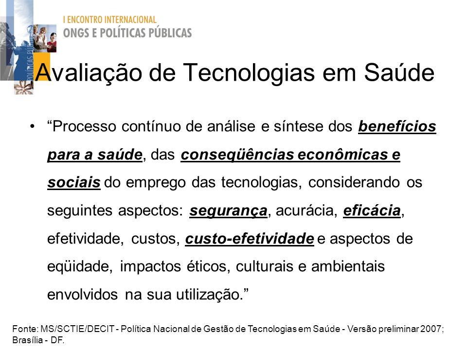 Avaliação de Tecnologias em Saúde Processo contínuo de análise e síntese dos benefícios para a saúde, das conseqüências econômicas e sociais do empreg