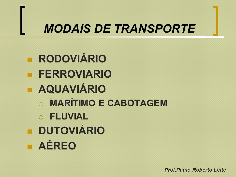 Prof.Paulo Roberto Leite MODAIS DE TRANSPORTE RODOVIÁRIO FERROVIARIO AQUAVIÁRIO MARÍTIMO E CABOTAGEM FLUVIAL DUTOVIÁRIO AÉREO