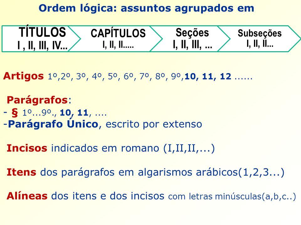 Ordem lógica: assuntos agrupados em Artigos 1º,2º, 3º, 4º, 5º, 6º, 7º, 8º, 9º,10, 11, 12...... Parágrafos: - § 1º...9º., 10, 11,.... -Parágrafo Único,