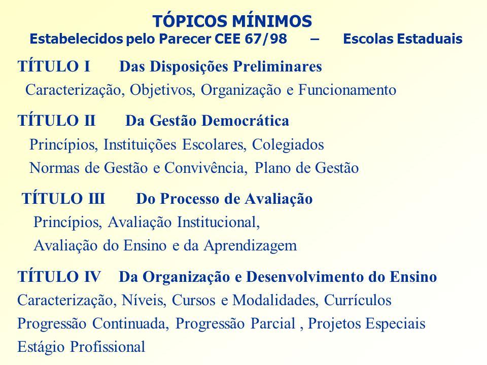 TÓPICOS MÍNIMOS Estabelecidos pelo Parecer CEE 67/98 – Escolas Estaduais TÍTULO I Das Disposições Preliminares Caracterização, Objetivos, Organização