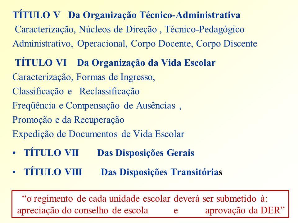 TÍTULO V Da Organização Técnico-Administrativa Caracterização, Núcleos de Direção, Técnico-Pedagógico Administrativo, Operacional, Corpo Docente, Corp
