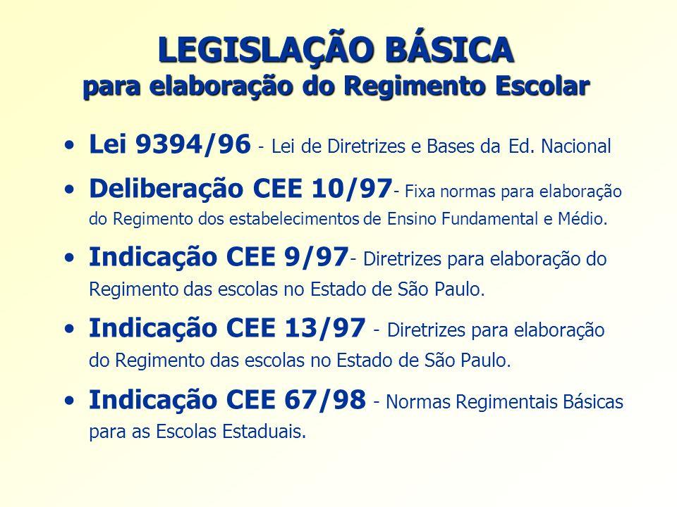 LEGISLAÇÃO BÁSICA para elaboração do Regimento Escolar Lei 9394/96 - Lei de Diretrizes e Bases da Ed. Nacional Deliberação CEE 10/97 - Fixa normas par