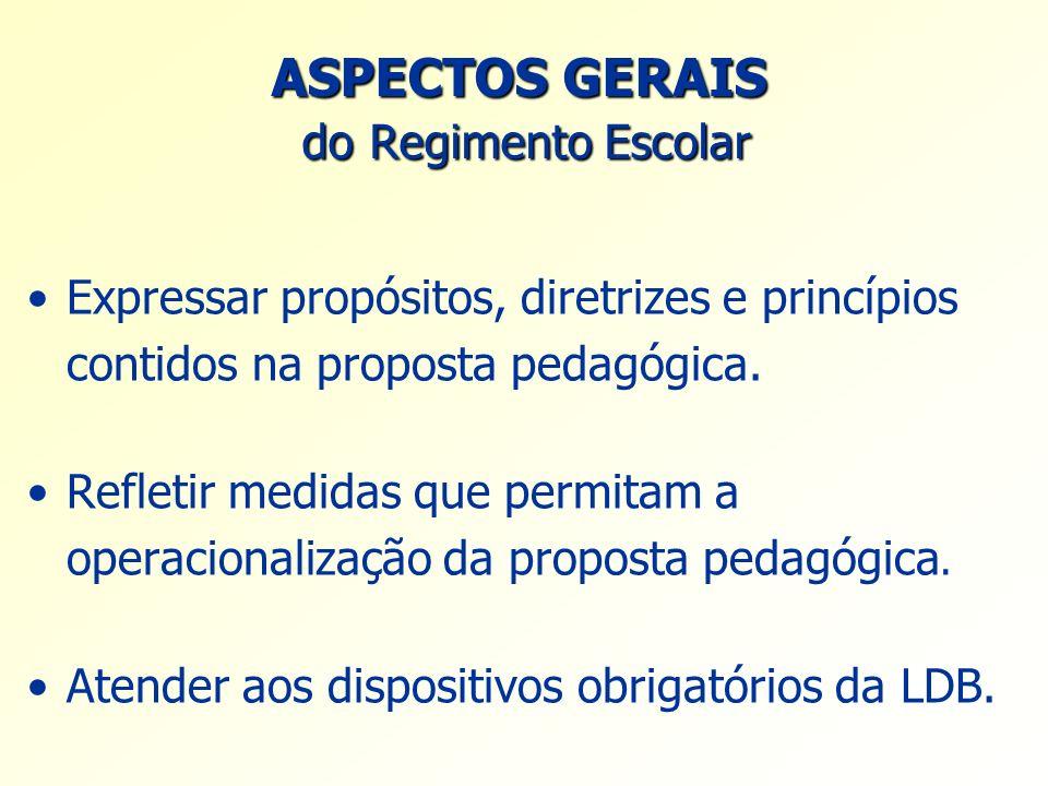 ASPECTOS GERAIS do Regimento Escolar Expressar propósitos, diretrizes e princípios contidos na proposta pedagógica. Refletir medidas que permitam a op